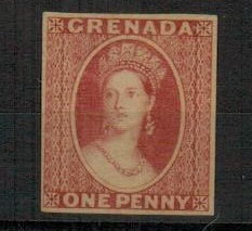 GRENADA - 1861 1d IMPERFORATE PLATE PROOF in rose-red.