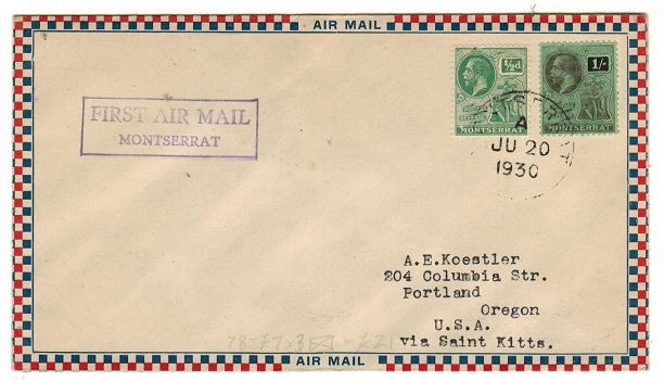 MONTSERRAT - 1930 delayed first flight cover to USA sent via St.Kitts.