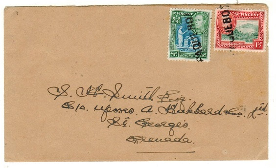 ST.VINCENT - 1941 2d rate inter-island PAQUEBOT cover to Grenada.