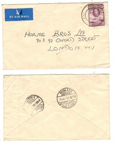GOLD COAST - 1938 6d rate cover to UK used at BIBIANI.