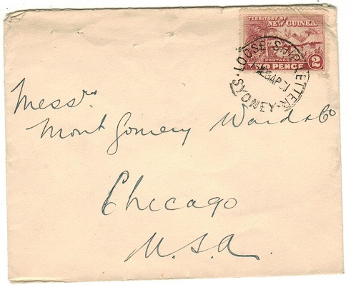 NEW GUINEA - 1931 2d rate cover to USA cancelled LOOSE SHIP LETTER/SYDNEY.