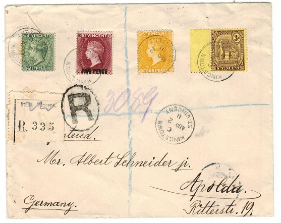 ST.VINCENT - 1911 multi franked registered cover to Germany used at KINGSTOWN.