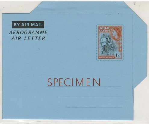 GOLD COAST - 1955 6d air letter SPECIMEN.  H&G 6.