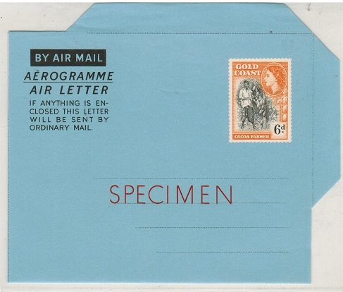 GOLD COAST - 1954 6d air letter SPECIMEN.  H&G 4.