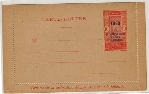 TOGO - 1917 10c orange and red unused postal stationery letter card.  H&G 1.