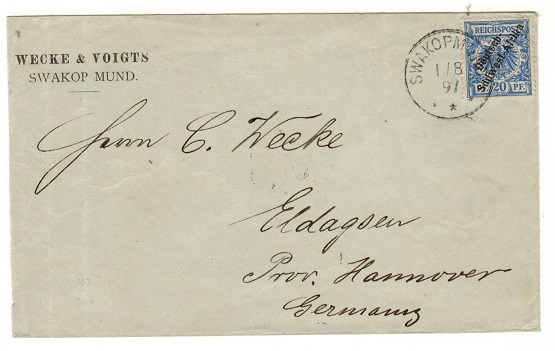 SOUTH WEST AFRICA (German) - 1897 20pfg rate cover to Germany used at SWAKOPMUND.