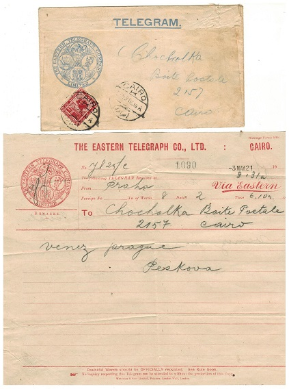 EGYPT - 1921 use of local TELEGRAM complete with telegraph form used at CAIRO.