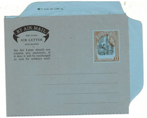 BRITISH GUIANA - 1960 12c air letter unused with DRAMATIC UPWARDS SHIFT OF VIGNETTE.  H&G 13.
