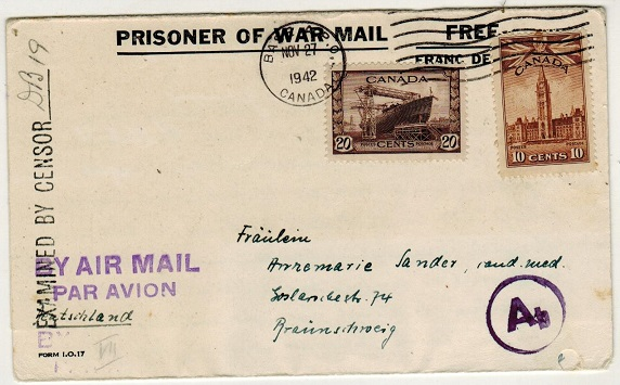 CANADA - 1942 censored PRISONER OF WAR letter sheet to Germany.