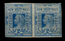 AUSTRALIA (New South Wales) - 1899 2d cobalt blue IMPERFORATE pair. SG 302a.