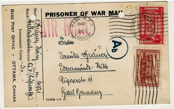 CANADA - 1942 PRISONER OF WAR postcard addressed to Germany.