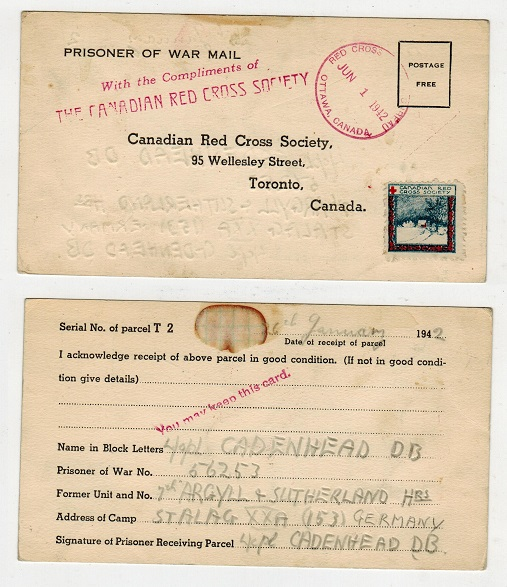 CANADA - 1942 PRISONER OF WAR postcard to Germany with rare CANADA RED CROSS label attached.