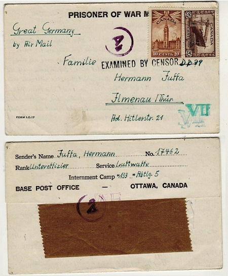 CANADA - 1943 PRISONER OF WAR letter sheet to Germany.