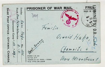 CANADA - 1944 censored PRISPONER OF WAR postcard addressed to Germany.