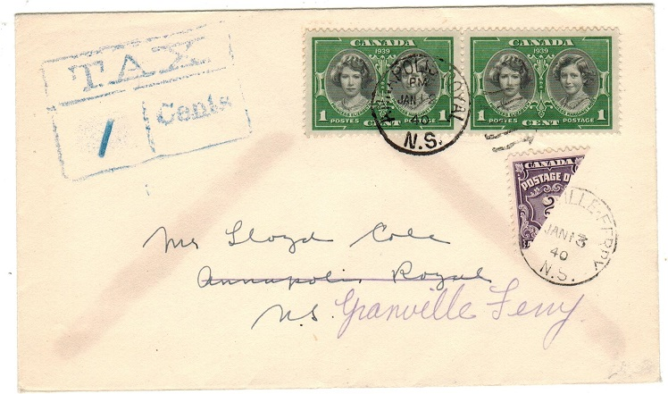 CANADA - 1940 local underpaid tax cover with scarce 2c