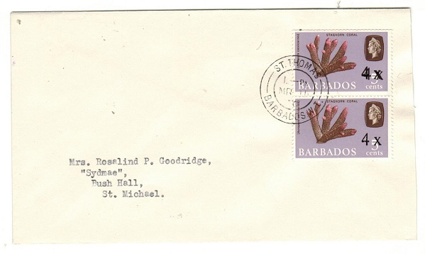 BARBADOS - 1970 8c rate local cover with one stamp showing SURCHARGE DOUBLE.  SG 398b.