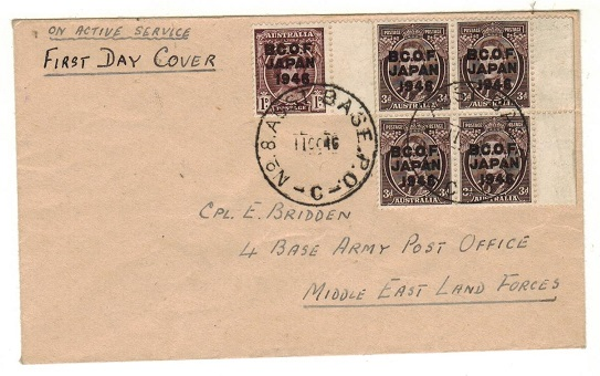 AUSTRALIA (B.C.O.F.) - 1946 first day cover used at No.8 AUST BASE P.O./C.