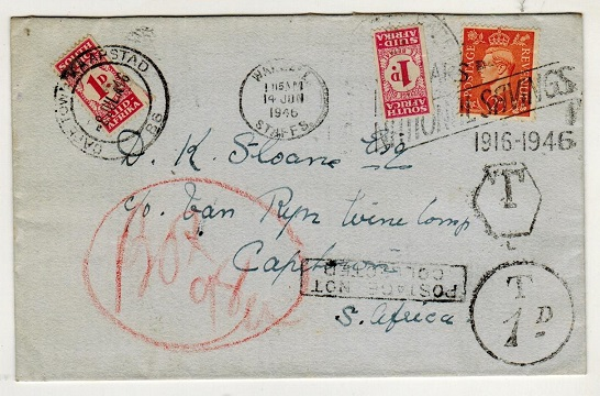 SOUTH AFRICA - 1946 inward under paid cover from UK with 1d (x2)