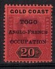 TOGO - 1916 20/- purple and black on red. Fine mint.  SG H58.