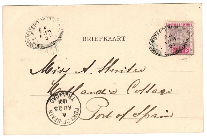 BRITISH GUIANA - 1901 2c rate postcard use to Trinidad with AMSTERDAM/NEDERLAND