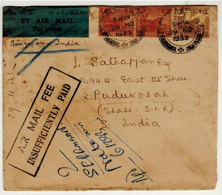 MALAYA (Negri Sembilan) - 1933 underpaid cover to India with INSUFFICIENTLY PAID h/s applied.