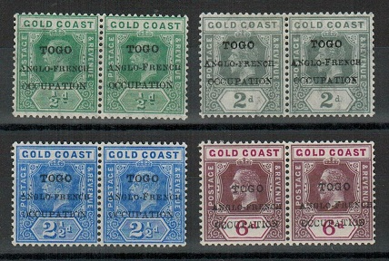 TOGO - 1915 1/2d, 2d, 2 1/2d and 6d in mint pairs with SMALL F variety.