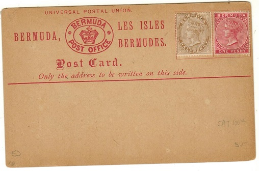BERMUDA - 1880 1/2d brown and 1d dull rose applied officially on unused PSC.  H&G 2.