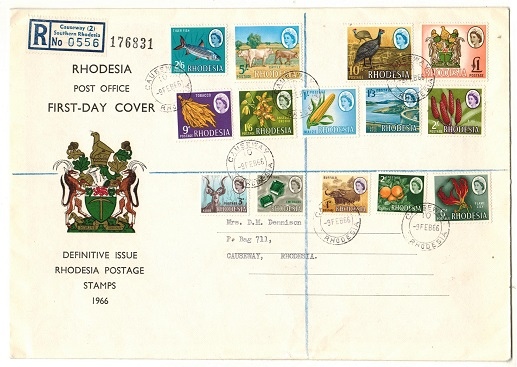 RHODESIA - 1966 definitive first day cover used at CAUSEWAY.