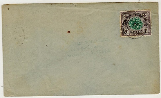 TONGA - 1903 4d on cover to USA used at NUKUALOFA.