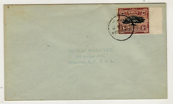 TONGA - 1903 1d (oxidised) on cover to USA used at NUKUALOFA.