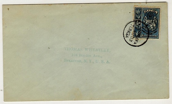 TONGA - 1903 1/2d on cover to USA used at NUKUALOFA.