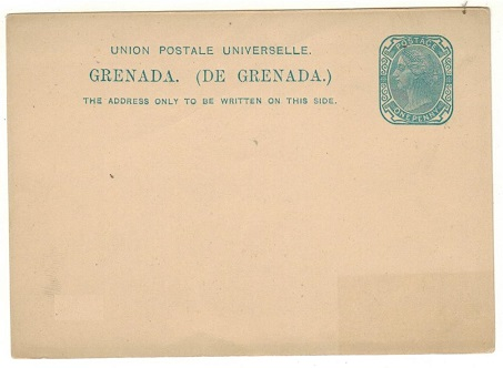 GRENADA - 1881 1d light blue PSC unused.  H&G 1.