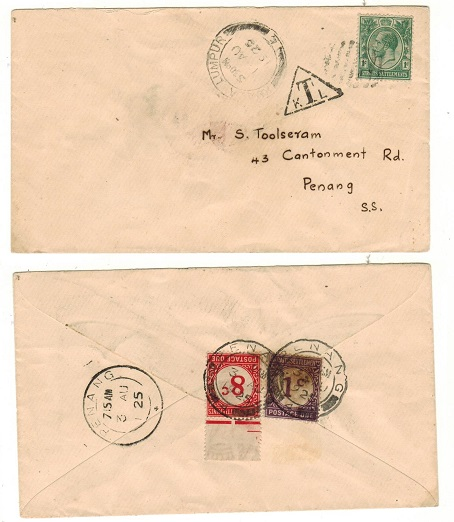 MALAYA (Selangor) - 1925 underpaid local cover with Straits 1c+8c