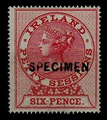 IRELAND - 1862 6d red U/M PETTY sessions adhesive overprinted SPECIMEN.