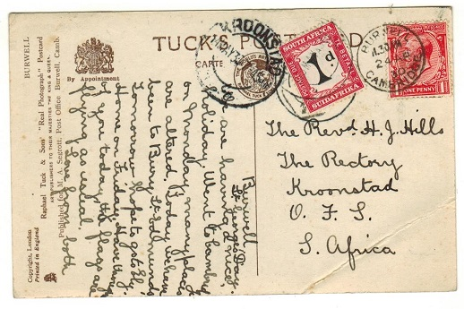 SOUTH AFRICA - 1930 inward underpaid postcard with 1d