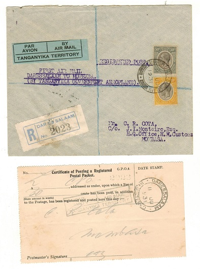 TANGANYIKA - 1931 first flight registered cover to Mombasa with certificate of posting.