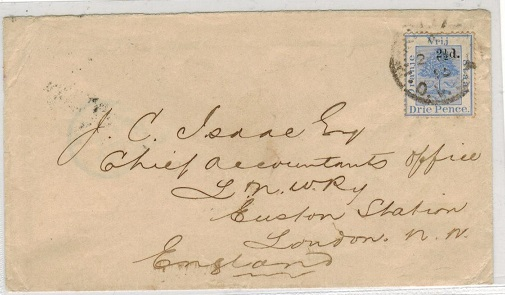 ORANGE FREE STATE - 1895 2 1/2d on 3d blue on cover to UK used at BLOEMOMFONTEIN.