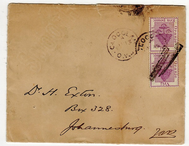 ORANGE FREE STATE - 1895 2d rate cover to Johannesburg used at CLOCOLAN.