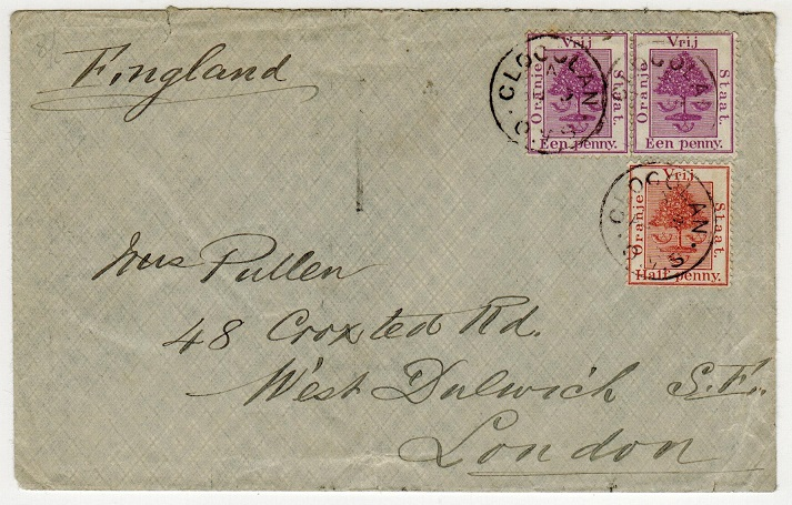 ORANGE FREE STATE - 1895 2 1/2d rate cover to UK used at CLOCOLAN.