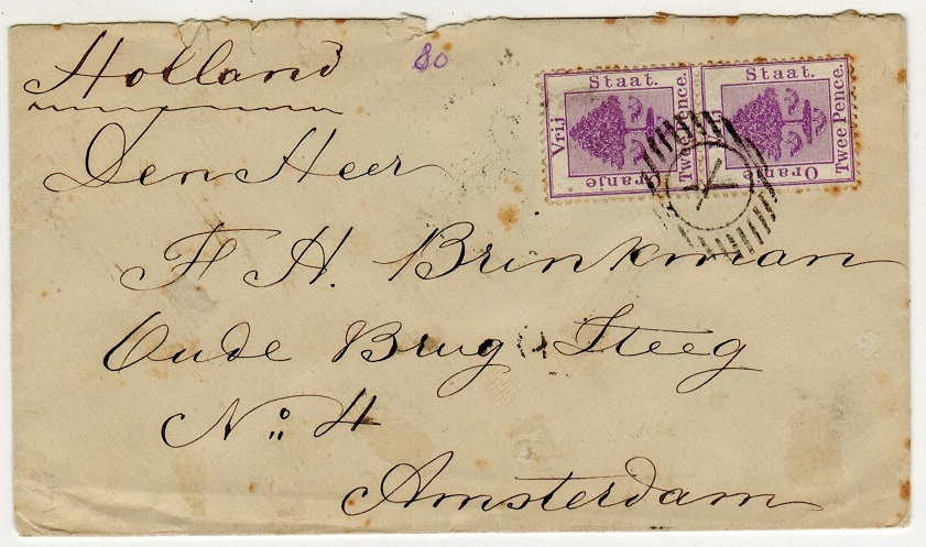 ORANGE FREE STATE - 1893 4d rate cover to Holland cancelled by