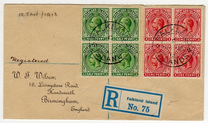 FALKLAND ISLANDS - 1913 1/2d and 1d blocks of four on