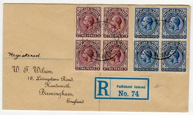 FALKLAND ISLANDS - 1913 2d and 2 1/2d blocks of four on