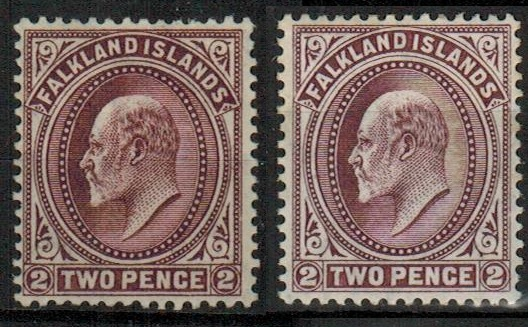 FALKLAND ISLANDS - 1912 2d reddish purple fine mint. SG 45b.