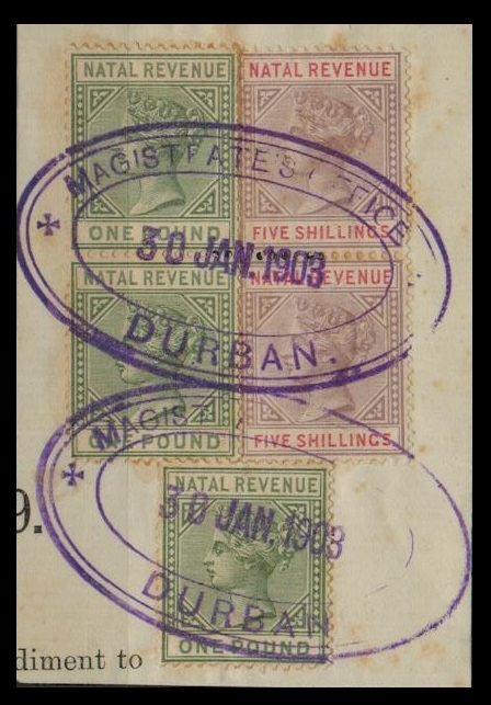 NATAL - 1886 5/- (x2) and £1 (x3) REVENUES on piece used at MAGISTRATES OFFICE/DURBAN.