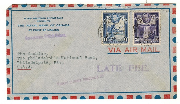 BRITISH GUIANA - 1938 42c rate cover to USA struck LATE FEE.