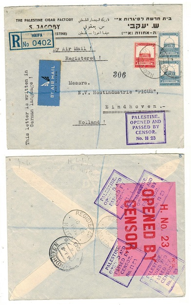PALESTINE - 1939 38m rate registered censor cover to Holland.