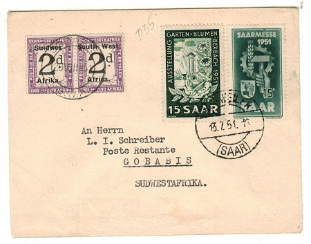 SOUTH WEST AFRICA - 1951 inward underpaid cover from Germany with 2d