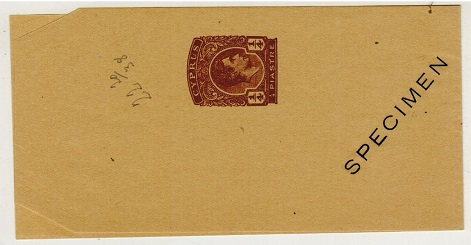 CYPRUS - 1938 1/4p brown postal stationery wrapper SPECIMEN.  H&G 14.