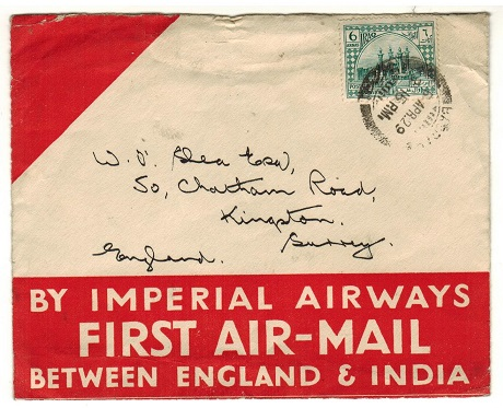 IRAQ - 1929 6a rate first flight cover to UK used at BAGHDAD.