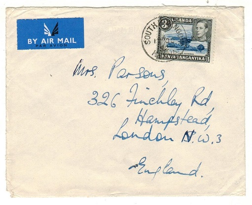 K.U.T. - 1952 3/- rate cover to UK used at SOUTH KINANGOP.
